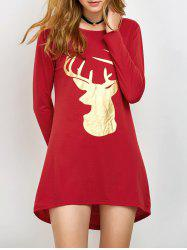 Fawn Patterned Christmas Long Sleeve T-Shirt - RED XL
