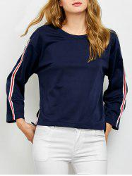 Crew Neck Side Slit Tee with Stripe Insert -