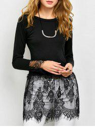 Sheer Lace Insert Tee -