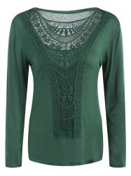 Cutwork Crochet Long Sleeve Tee