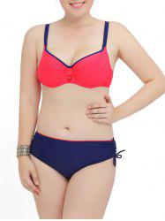Plus Size Color Block Push Up Bikini Set - BLUE AND RED 4XL