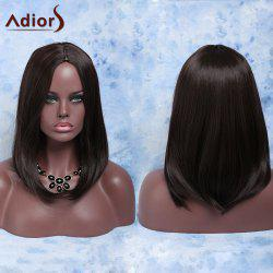 Fashion Medium Straight Deep Brown Centre Parting Women's Synthetic Hair Wig