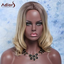 Gorgeous Medium Brown Mixed Blonde Synthetic Fluffy Wavy Centre Parting Wig For Women