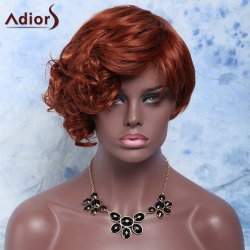 Outstanding Short Side Bang Capless Fluffy Curly Dark Auburn Synthetic Wig For Women - DARK AUBURN