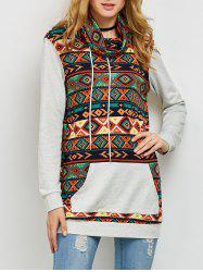 Geometric Trim Cowl Neck Sweatshirt
