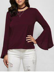 Flare Sleeve Jewel Neck Tee - BURGUNDY 2XL