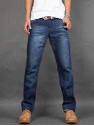 Straight Fit Zip Fly Mid Waisted Jeans