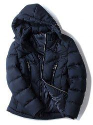 Zippered Pocket Hooded Padded Jacket