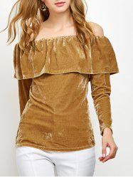 Off Shoulder Ruffles Velvet T-Shirt