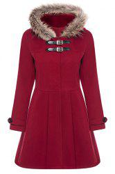 Hooded Woollen Blend A Line Coat - RED