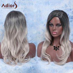 Trendy Long Slightly Curled Mixed Color Side Parting Women's Synthetic Hair Wig -