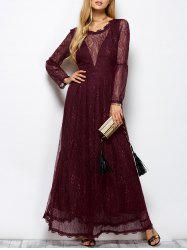 Lace Long Sleeve Mesh Maxi Evening Dress - WINE RED