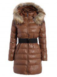 Belted Padded Coat with Furry Hood -