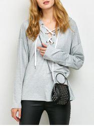 Lace Up Long Sleeve Hooded T Shirt - GRAY XL