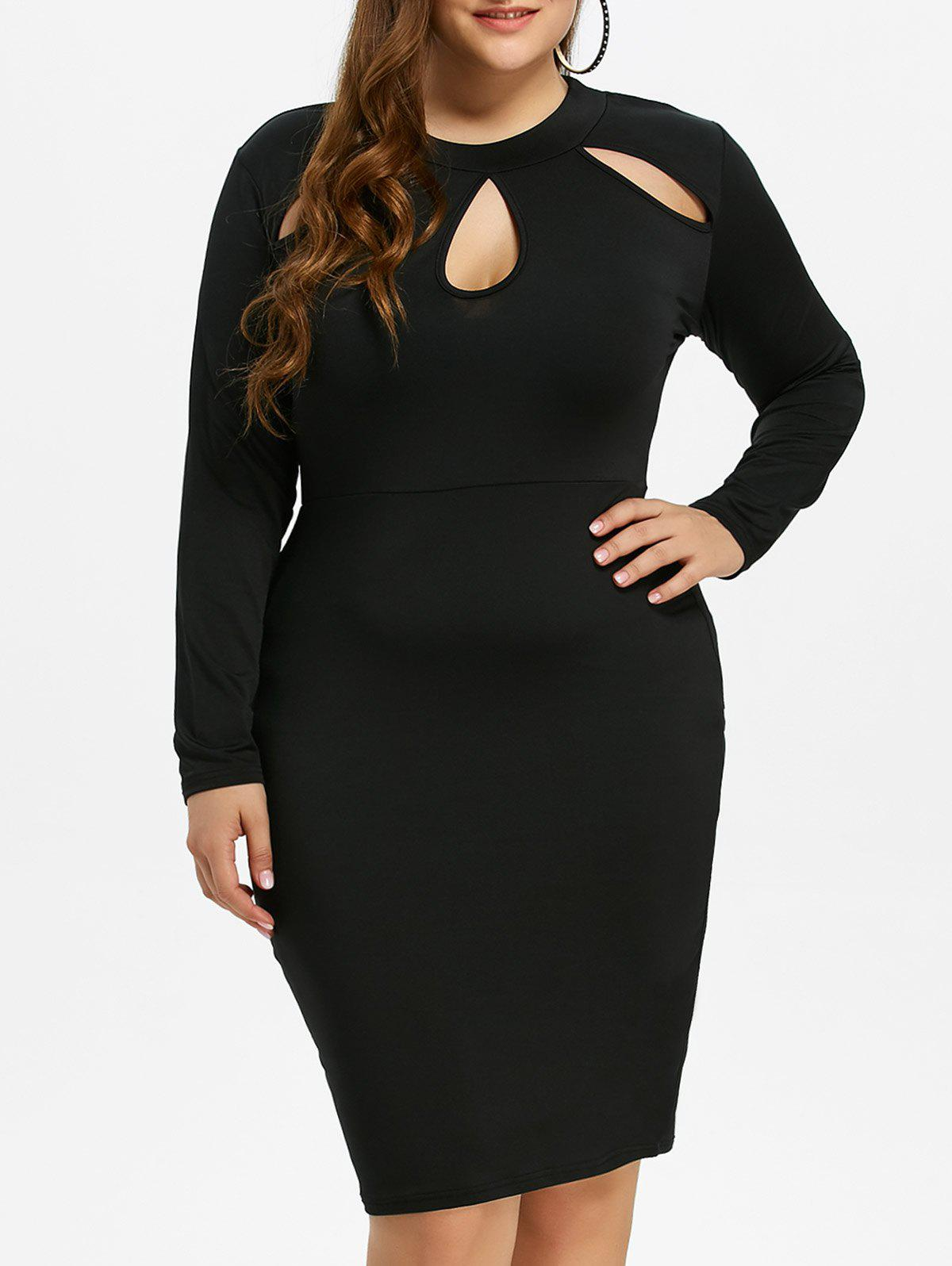 Cut Out Plus Size Bodycon Tight DressWOMEN<br><br>Size: 3XL; Color: BLACK; Style: Brief; Material: Polyester; Silhouette: Sheath; Dresses Length: Knee-Length; Neckline: Keyhole Neck; Sleeve Length: Long Sleeves; Pattern Type: Solid; With Belt: No; Season: Fall,Spring,Winter; Weight: 0.370kg; Package Contents: 1 x Dress;