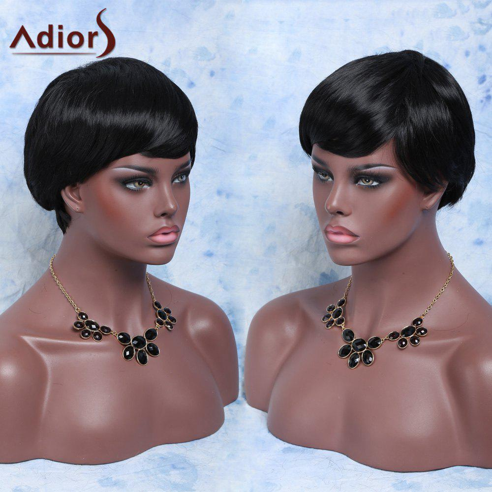 Trendy Short Fluffy Straight Neat Bang Pixie Cut Synthetic Capless Wig