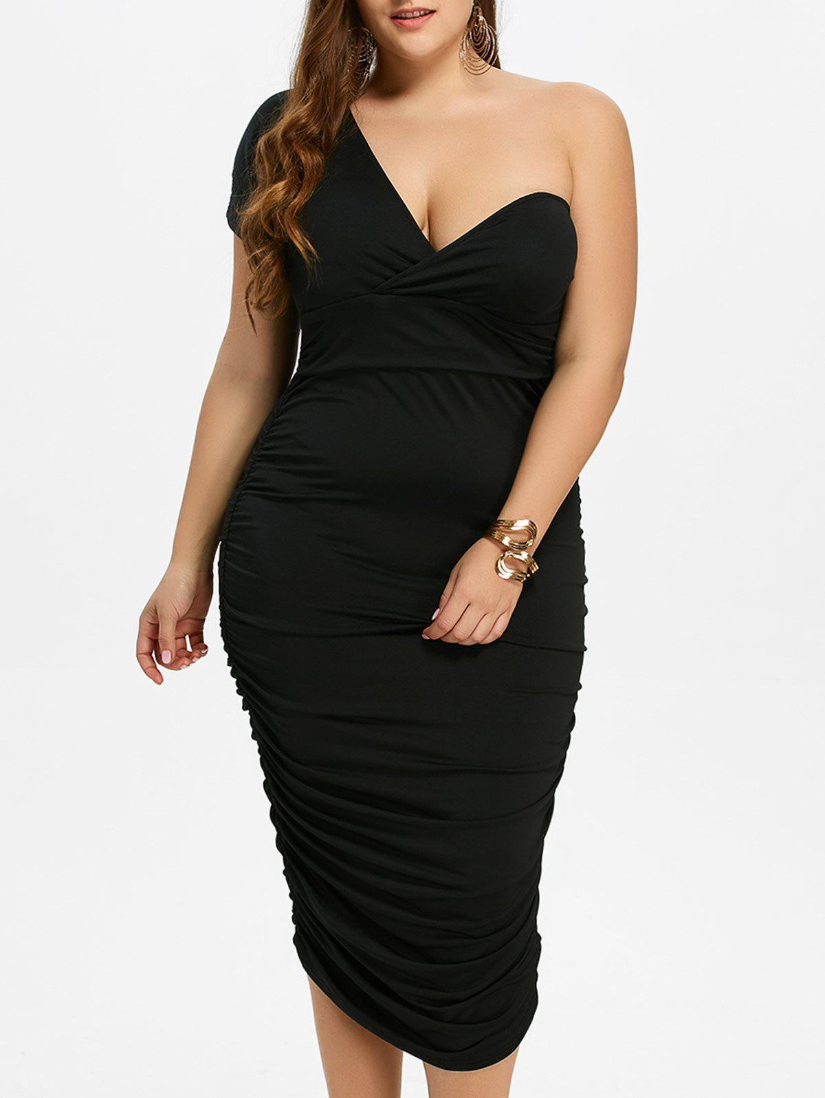 One Shoulder Bodycon Prom Plus Size Cocktail Bandage DressWOMEN<br><br>Size: 3XL; Color: BLACK; Style: Brief; Material: Polyester; Silhouette: Sheath; Dresses Length: Mid-Calf; Neckline: One-Shoulder; Sleeve Length: Short Sleeves; Pattern Type: Solid; With Belt: No; Season: Fall,Spring,Summer; Weight: 0.3700kg; Package Contents: 1 x Dress;