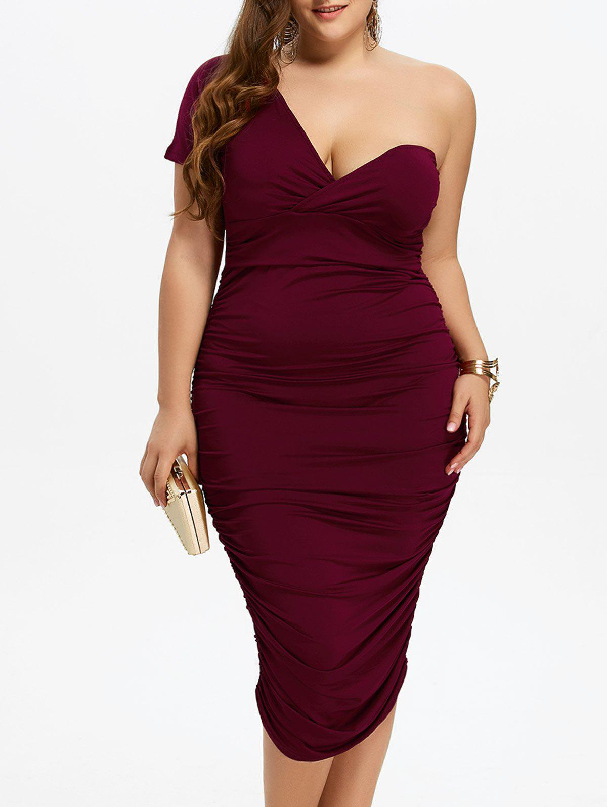 One Shoulder Bodycon Prom Plus Size Cocktail Bandage DressWOMEN<br><br>Size: 3XL; Color: WINE RED; Style: Brief; Material: Polyester; Silhouette: Sheath; Dresses Length: Mid-Calf; Neckline: One-Shoulder; Sleeve Length: Short Sleeves; Pattern Type: Solid; With Belt: No; Season: Fall,Spring,Summer; Weight: 0.3700kg; Package Contents: 1 x Dress;