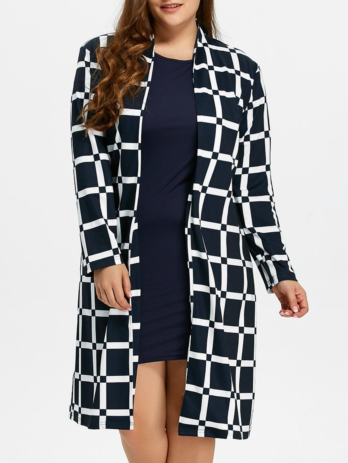 Plus Size Long Grid CoatWOMEN<br><br>Size: 6XL; Color: CHECKED; Clothes Type: Trench; Material: Polyester; Type: Wide-waisted; Shirt Length: Long; Sleeve Length: Full; Collar: Collarless; Pattern Type: Plaid; Embellishment: Vintage; Style: Streetwear; Season: Fall,Spring,Winter; With Belt: No; Weight: 0.670kg; Package Contents: 1 x Coat;