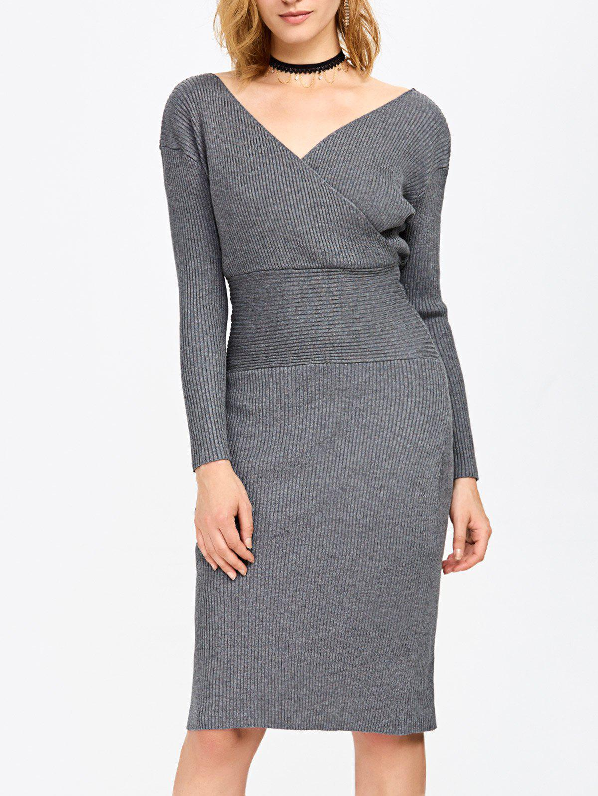 Chic Surplice Ribbed Pencil Knit Fitted Jumper Dress