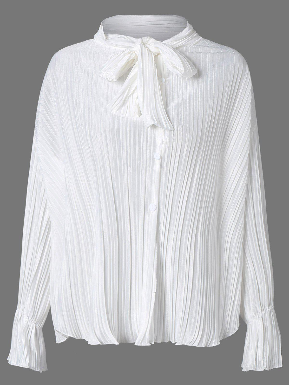 Discount Bow Tie Collar Flare Sleeve Pleated Blouse