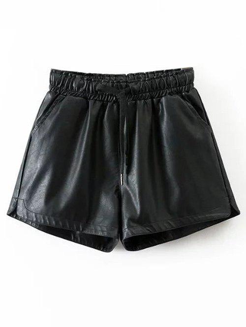 Store Drawstring Faux Leather Shorts