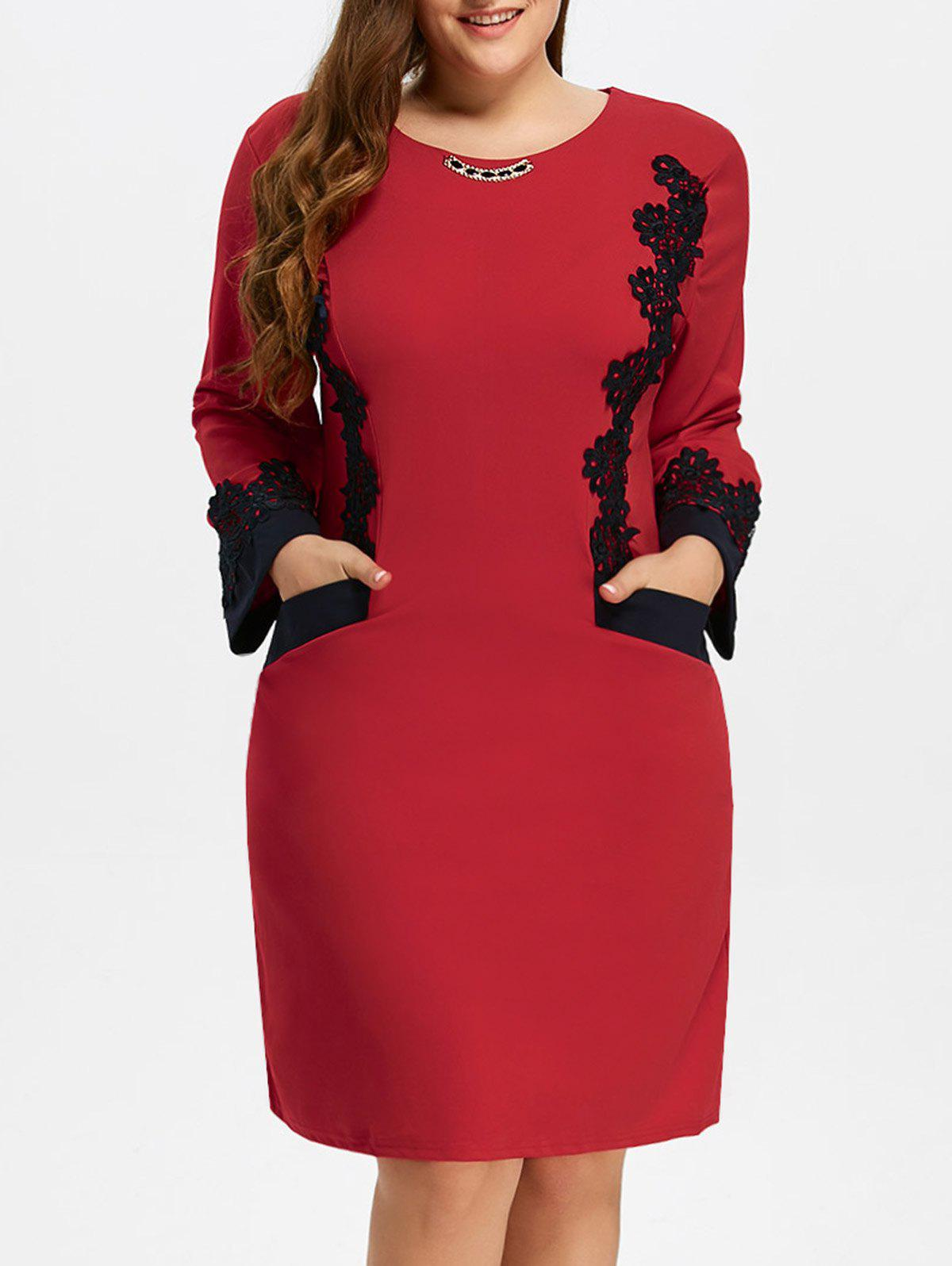 Plus Size Midi Lace Panel DressWOMEN<br><br>Size: 3XL; Color: RED; Style: Brief; Material: Polyester; Silhouette: Straight; Dresses Length: Mid-Calf; Neckline: Jewel Neck; Sleeve Length: Long Sleeves; Pattern Type: Patchwork; With Belt: No; Season: Fall,Spring,Winter; Weight: 0.370kg; Package Contents: 1 x Dress;