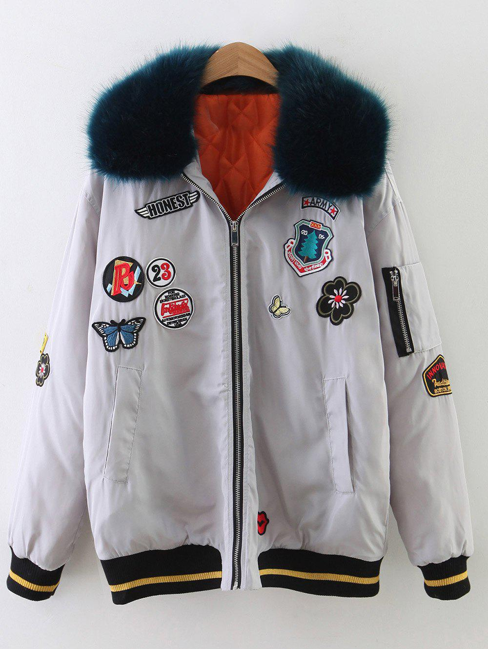 Best Fur Collar Patch Design Padded Bomber Jacket