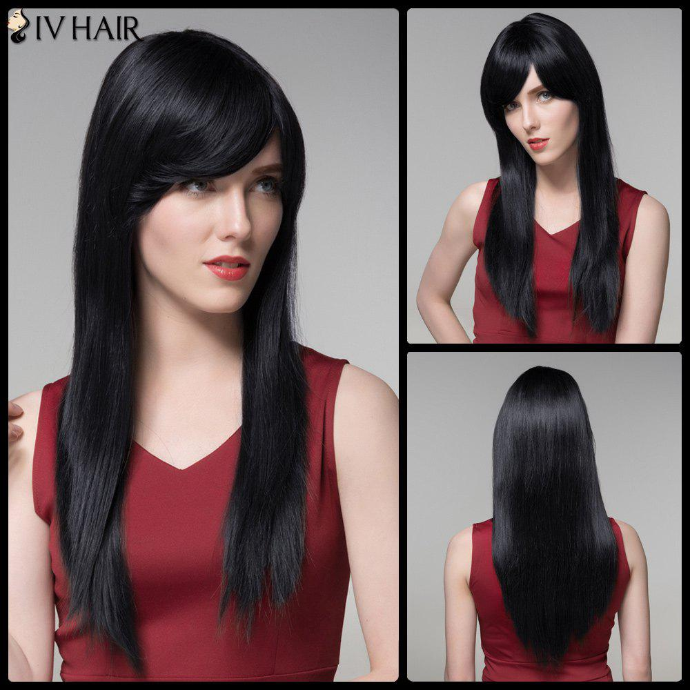 Chic Long Side Bang Siv Hair Straight Real Natural Hair Wig