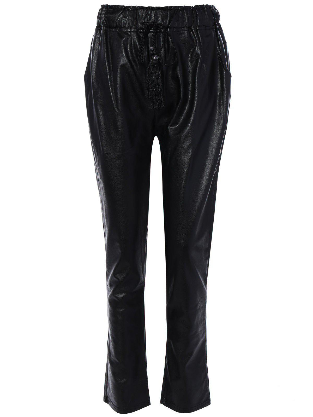 classic styles official price hot-selling genuine Leather Drawstring Bootcut Pants