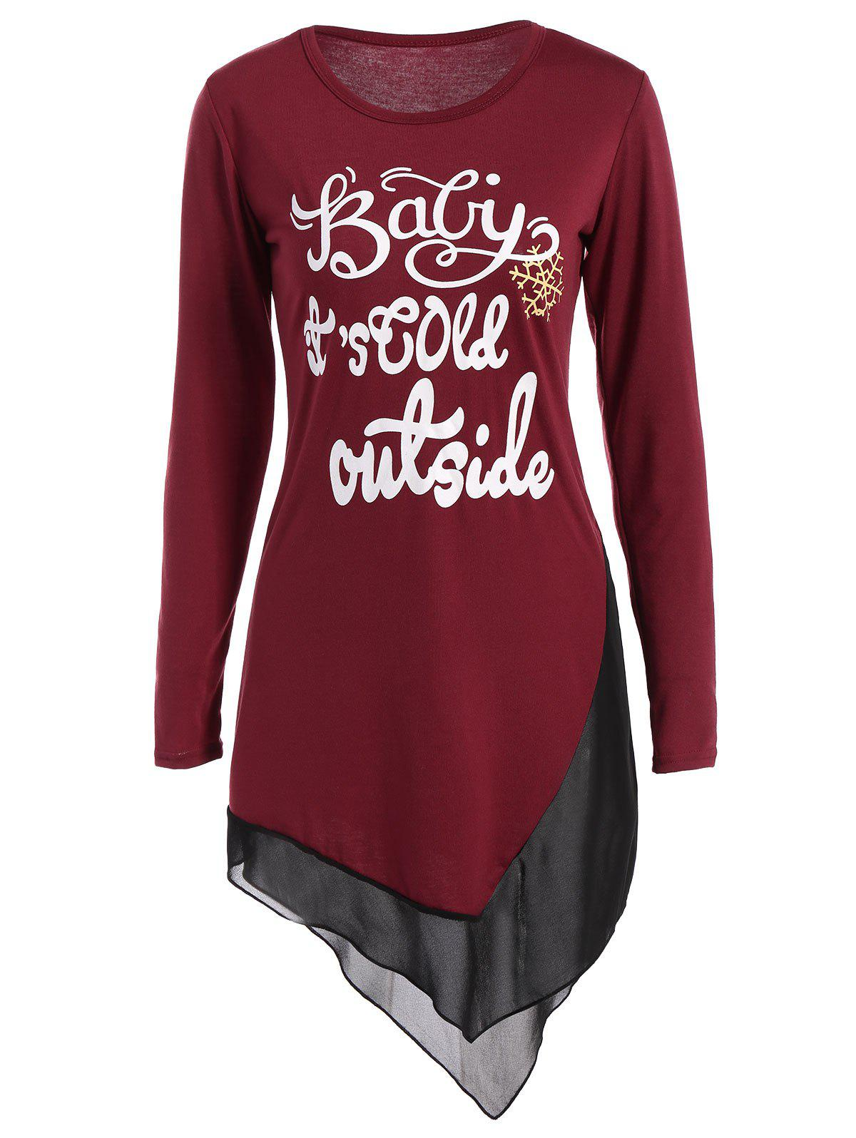 Asymmetrical Graphic Layered Longline TeeWOMEN<br><br>Size: XL; Color: WINE RED; Material: Cotton,Polyester; Sleeve Length: Full; Collar: Jewel Neck; Style: Fashion; Pattern Type: Letter; Season: Fall,Spring,Winter; Weight: 0.370kg; Package Contents: 1 x Tee;