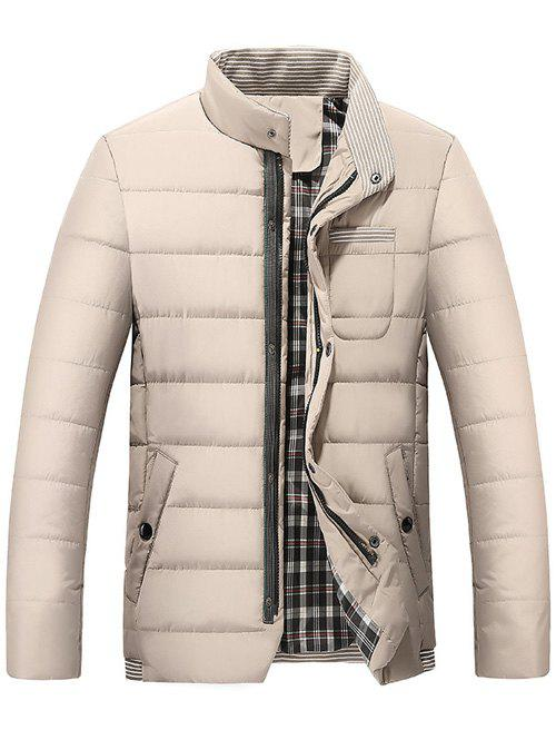 Sale Stand Collar Zip Up Striped Quilted Jacket