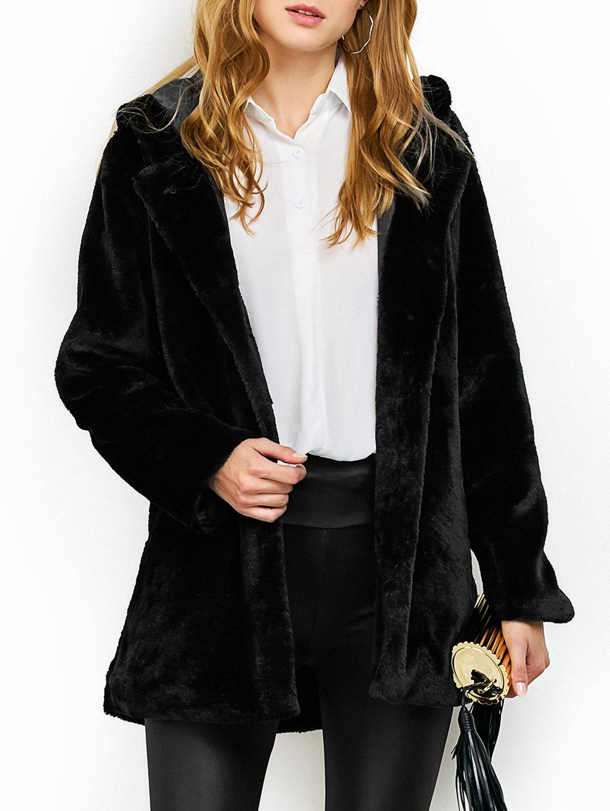 Discount Hooded Fuzzy Faux Fur Coat