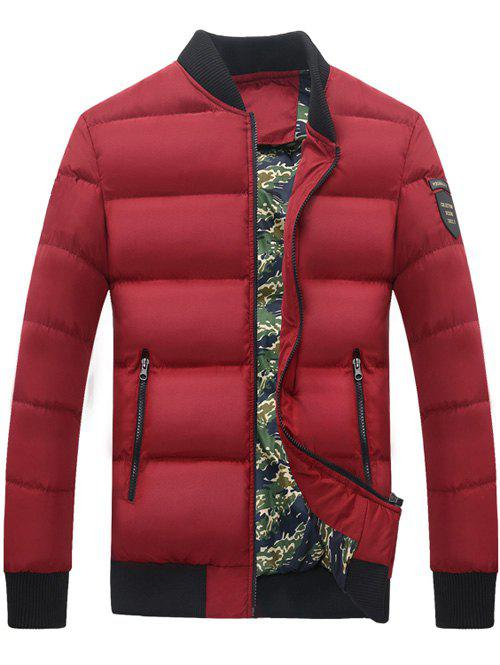 9de65403c617 2018 Zip Up Stand Collar Patch Quilted Jacket In Red 3xl