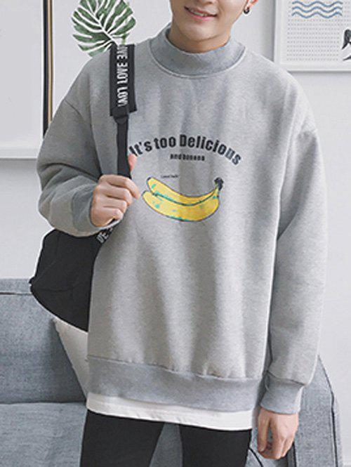 Store Banana Print High Neck Layered Hem Sweatshirt