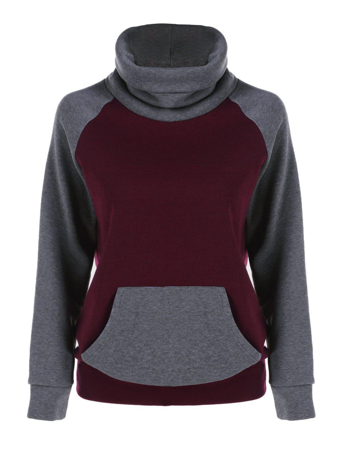 Affordable Turtleneck Kangaroo Pocket Sweatshirt