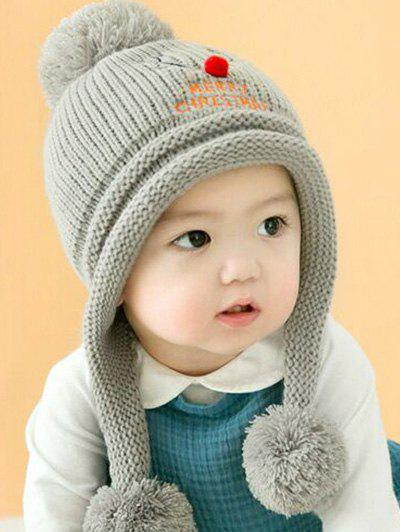 Cheap Christmas Elk Pattern Baby Knitted Beanie Pompom Hat