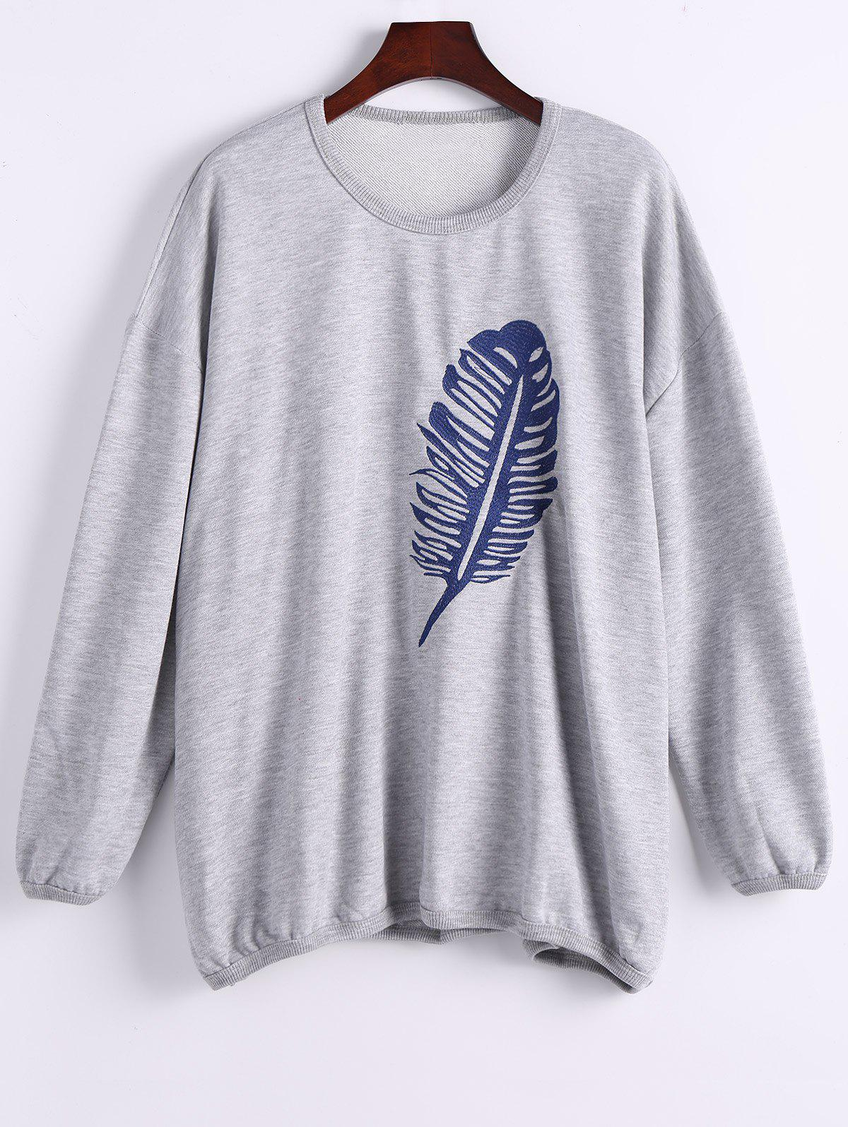 Chic Single Plume Embroidered Drop Shoulder Sweatshirt