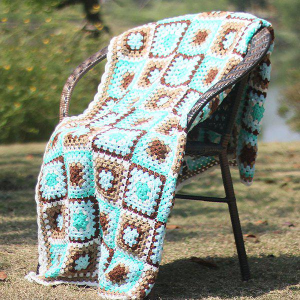 Discount Hollow Out Plaid Patchwork Crochet Knitting Throw Blanket