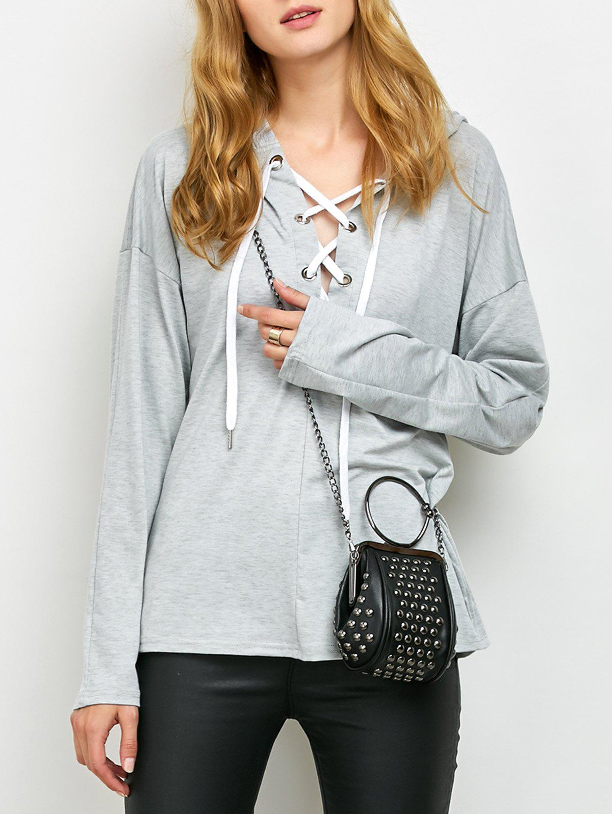 Outfit Lace Up Long Sleeve Hooded T Shirt