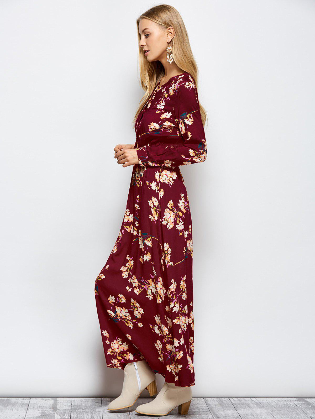 Wine Red Xl Maxi Floral Long Sleeve Casual Boho Dress ...