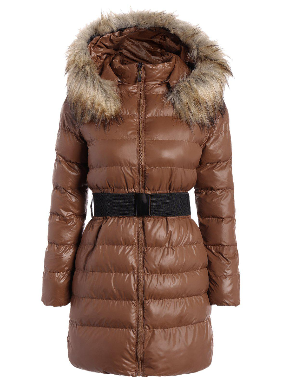 Outfits Belted Padded Coat with Furry Hood