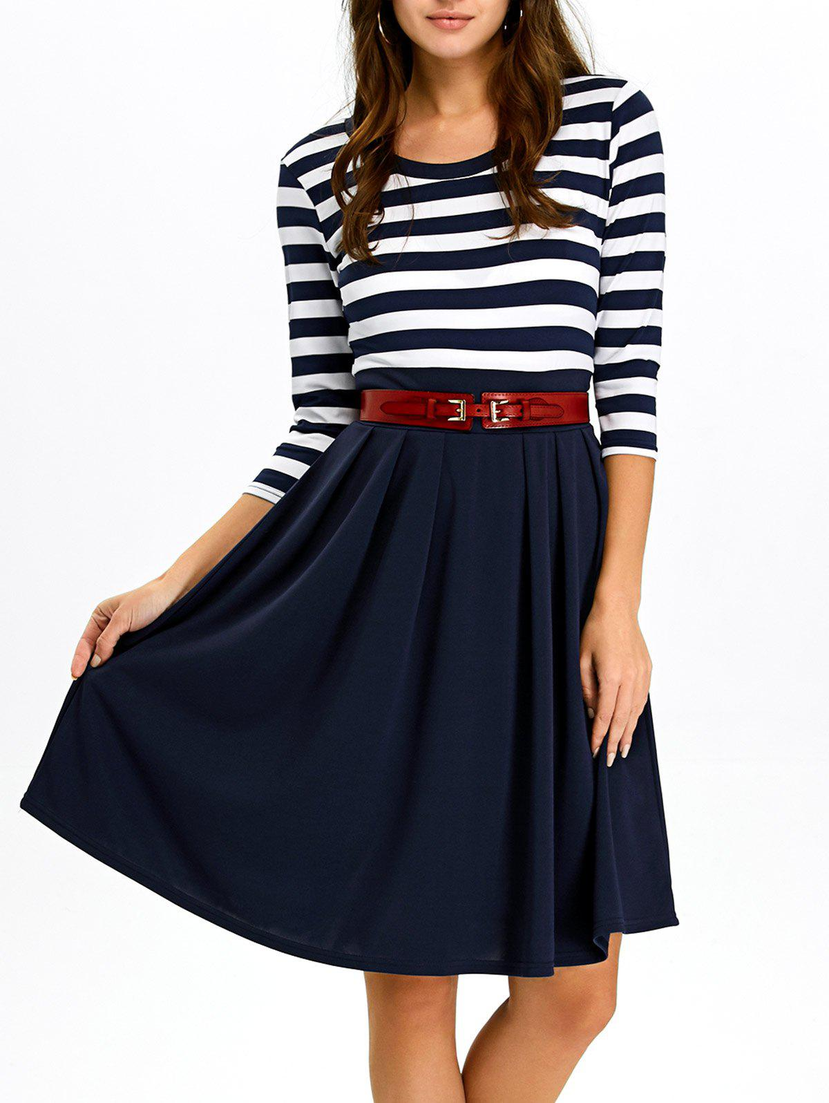 Purplish Blue M A Line Stripe Casual Dress Fall | RoseGal.com