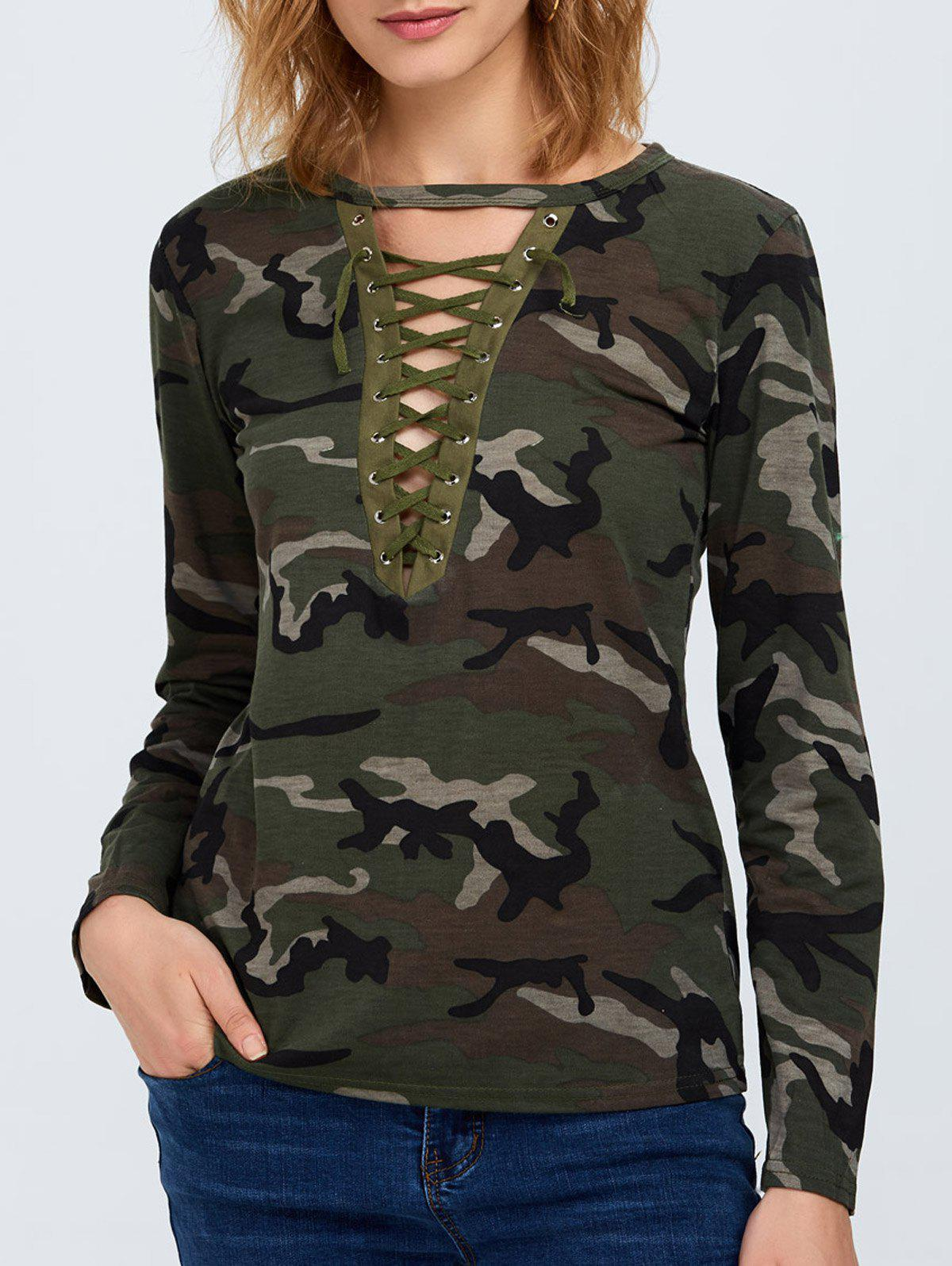 Discount Camo Long Sleeve Lace Up T-Shirt