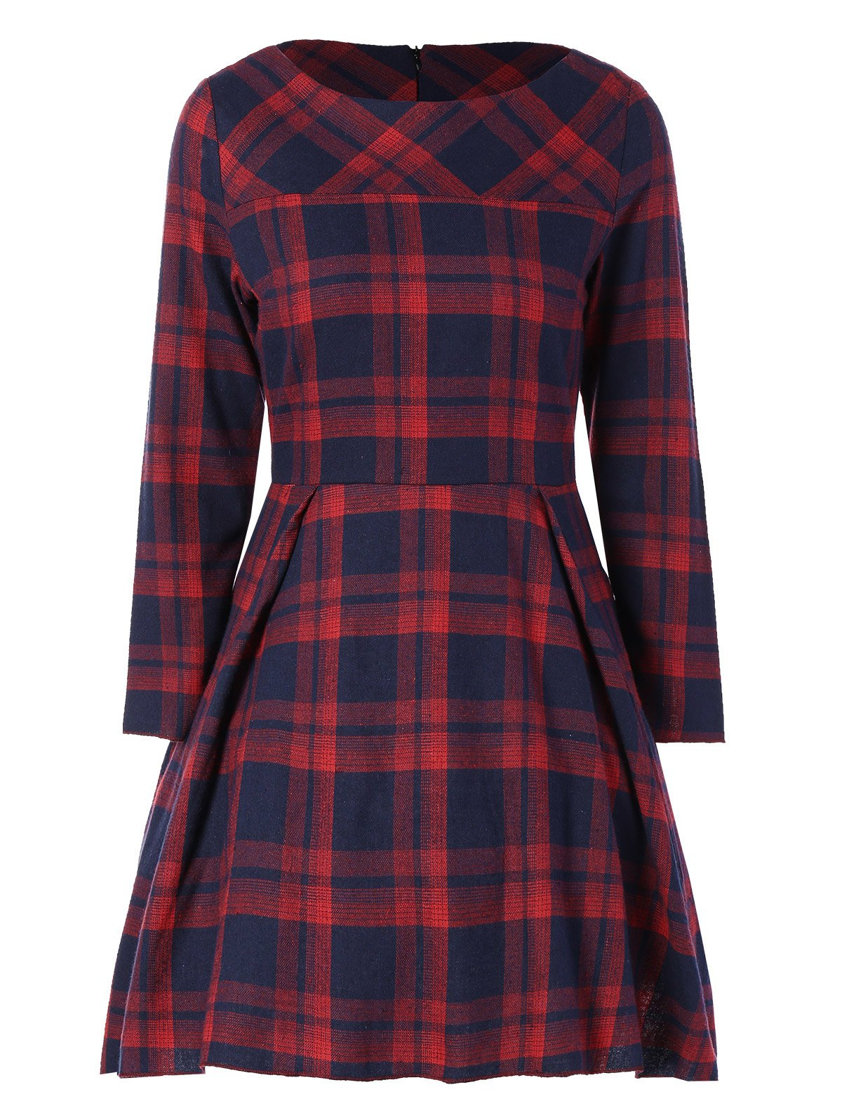 Latest Tartan Plaid Flare Dress