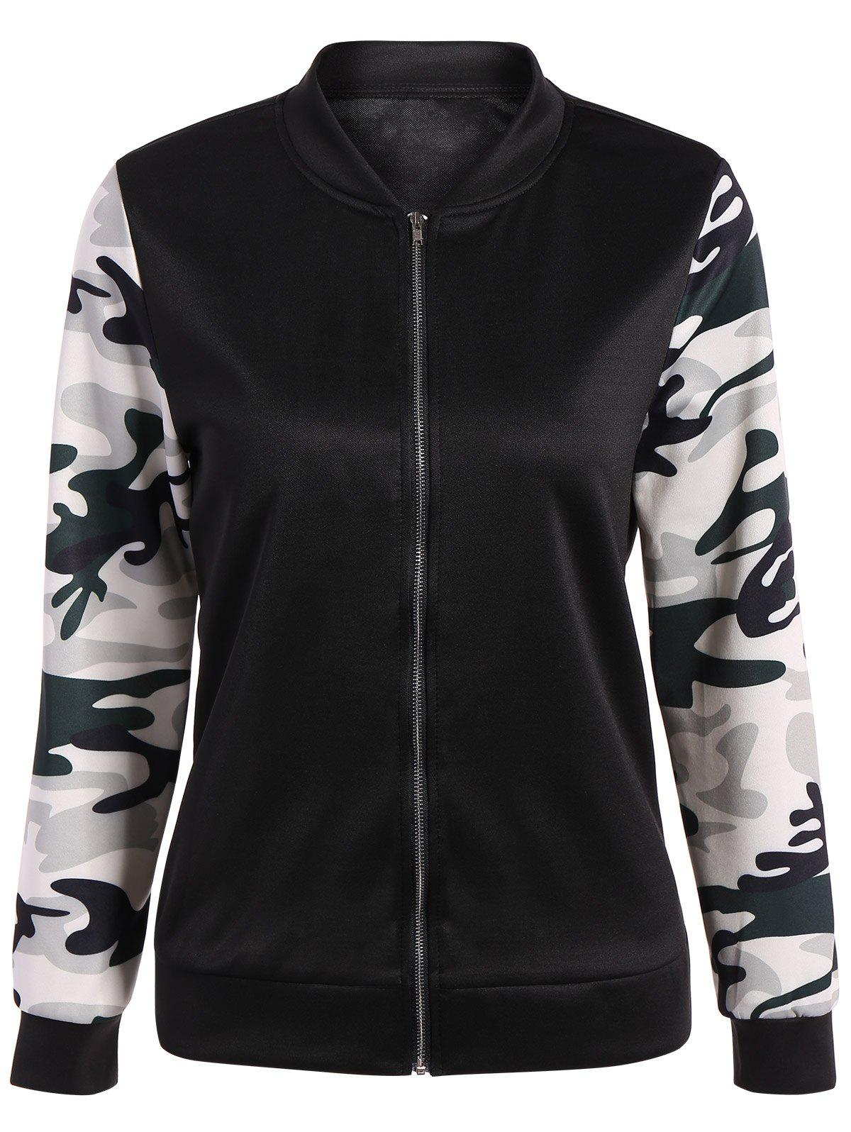 Shops Camouflage Panel Zippered Bomber Jacket