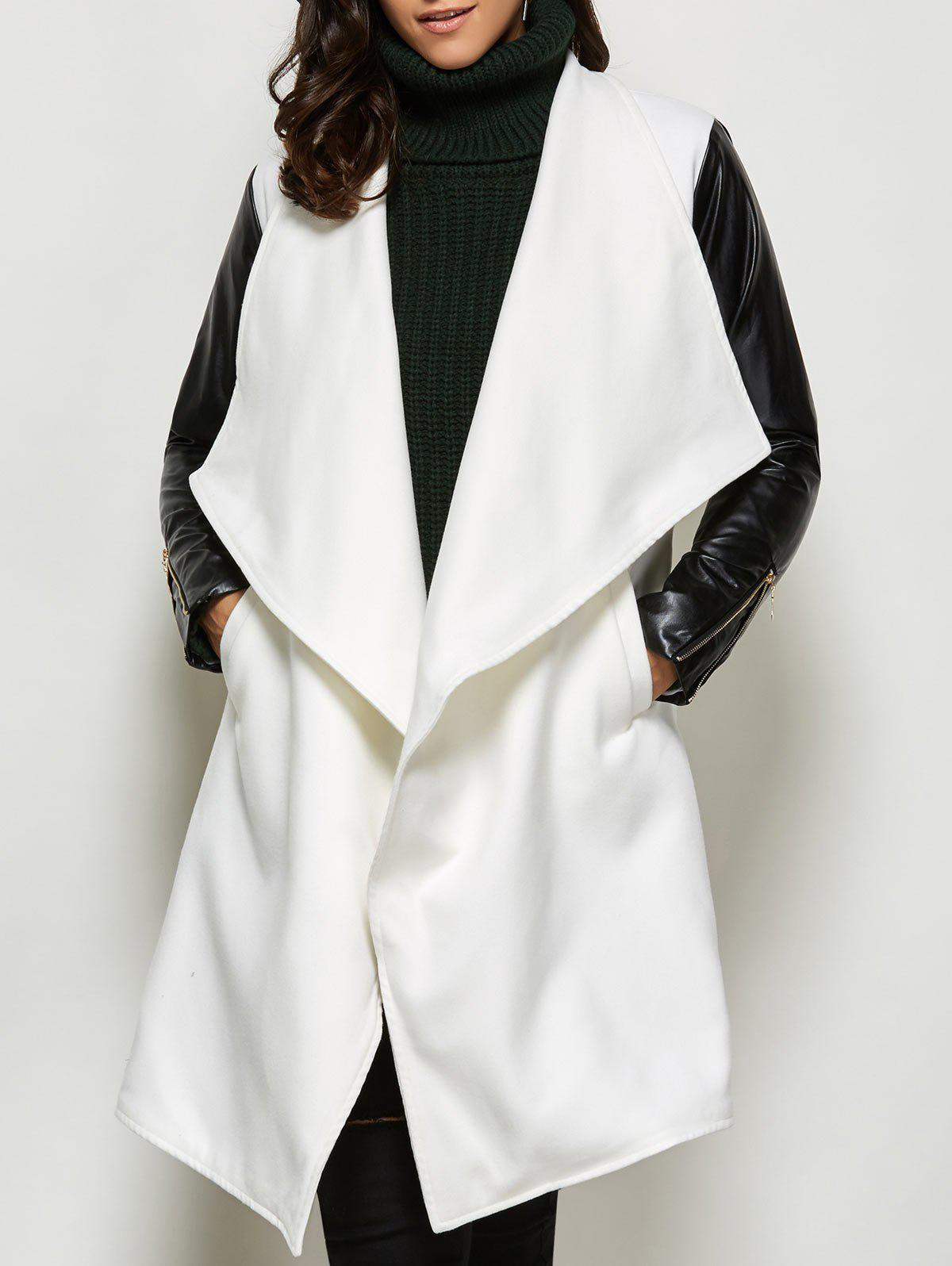 Outfit Faux Leather Panel Wool Blend Coat