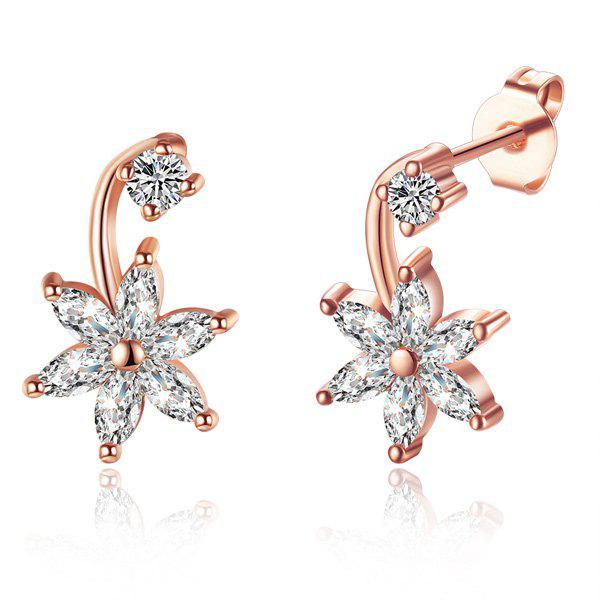Rhinestone Floral EarringsJEWELRY<br><br>Color: ROSE GOLD; Earring Type: Drop Earrings; Gender: For Women; Style: Noble and Elegant; Shape/Pattern: Floral; Weight: 0.030kg; Package Contents: 1 x Earring (Pair);