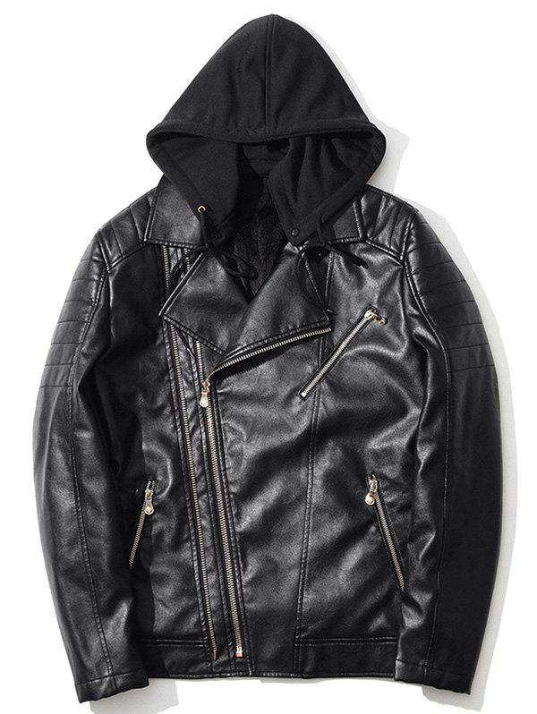 Chic Pocket Asymmetrical Zip Up Hooded PU Leather Jacket