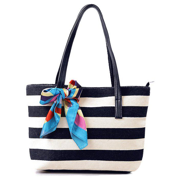 Colour Block Stripe Canvas Beach BagSHOES &amp; BAGS<br><br>Color: BLACK; Handbag Type: Shoulder bag; Style: Casual; Gender: For Women; Pattern Type: Striped; Handbag Size: Medium(30-50cm); Closure Type: Zipper; Interior: Cell Phone Pocket; Occasion: Versatile; Main Material: Canvas; Weight: 0.231kg; Size(CM)(L*W*H): 38*10*25; Strap Length: 22CM; Package Contents: 1 x Shoulder Bag;